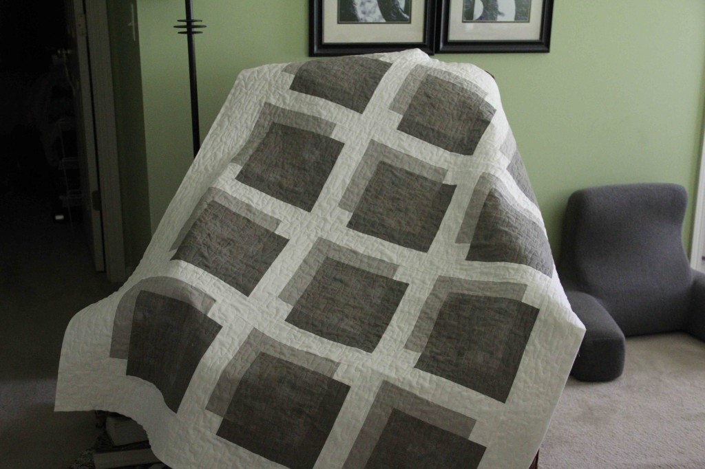"""Quilting is finished. Pattern by Weeks Ringle and Bill Kerr from their new book, """"Transparency Quilts""""."""