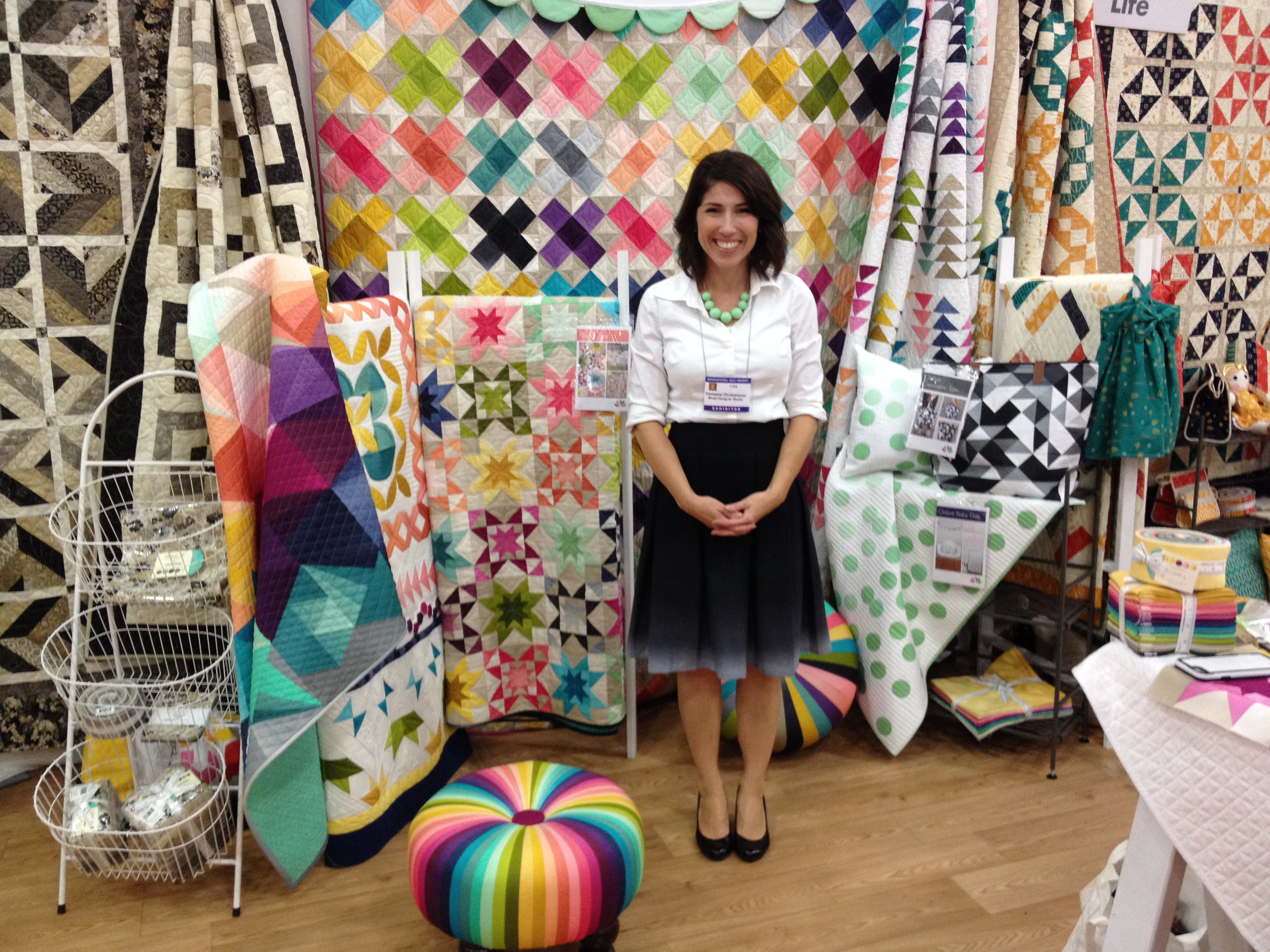 Vanessa fro V and Co. with her FABULOUS ombre fabric all around, including her skirt.
