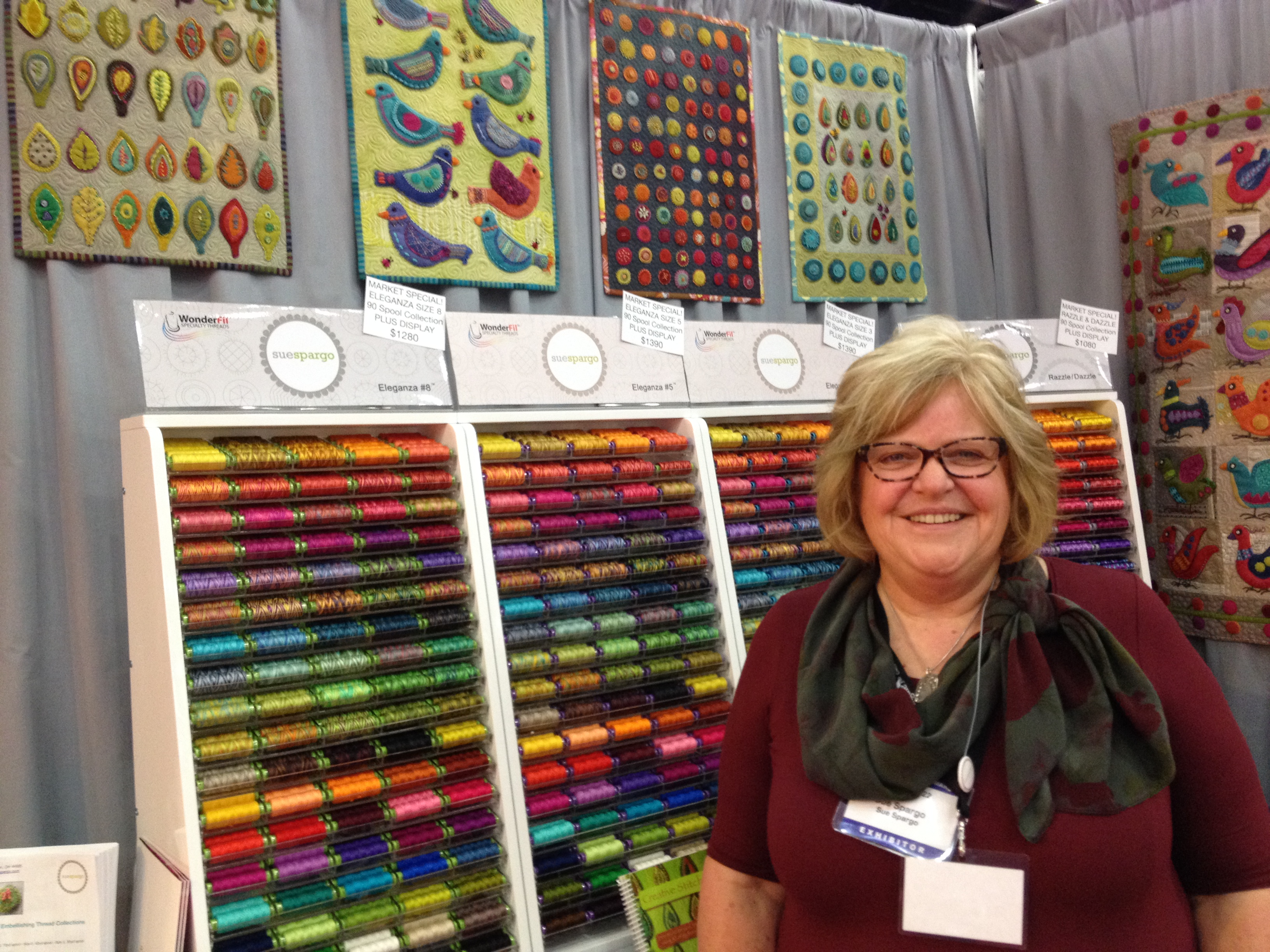 The delightful Sue Spargo at her booth.  I want every bit of her thread.